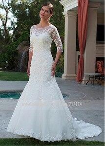 Image 2 - Elegante tule bateau decote sereia vestido de casamento com apliques de renda frisada meia mangas vestido de noiva com cristais