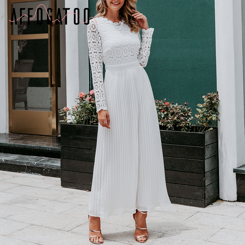 Affogatoo Elegant O Neck Pleated Lace White Dress Women Casual Embroidery Plus Size Long Dress Autumn Winter Ladies Party Dress