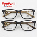 2016 Most popular Imitation brushed wood acetate optical frame high quality unisex eyeglasses W6805