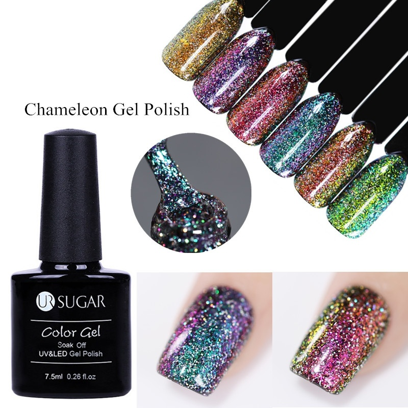UR SUGAR UV Chameleon Holographic Gel Polish Starry Platinum Glitter Shinny Nail Varnish Art 7.5ml Lacquer Black Base Need