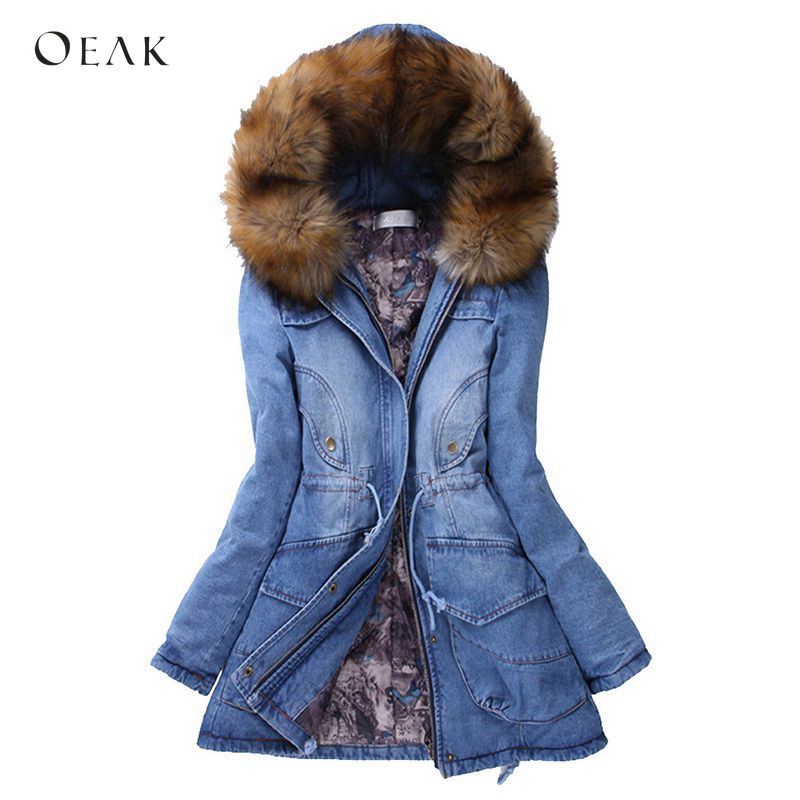 OEAK 2018 Women Denim Jackets Winter   Parkas   Faux Fur Hooded Coats Female Warm Thicken   Parkas   Outerwear Down Long Denim Jacket