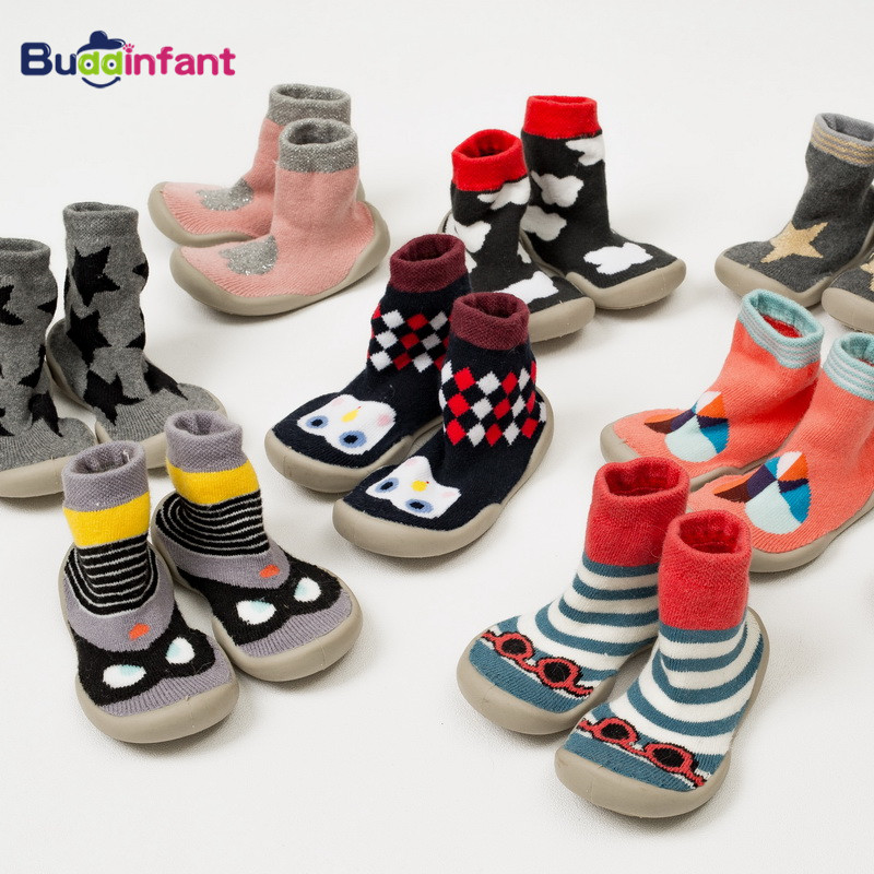 Winter Warm Socks Baby Boys Girls Shoe Socks With Rubber Soles Toddler Slippers Indoor Sock Shoes Kids New Born Socks Non Slip