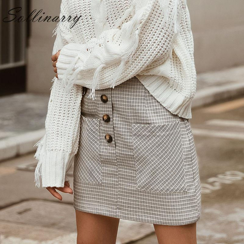 Sollinarry Houndstooth Women Straight Skirts High Waist Winter Buttons Chic Mini Skirt Female Casual Streetwear Short Skirts