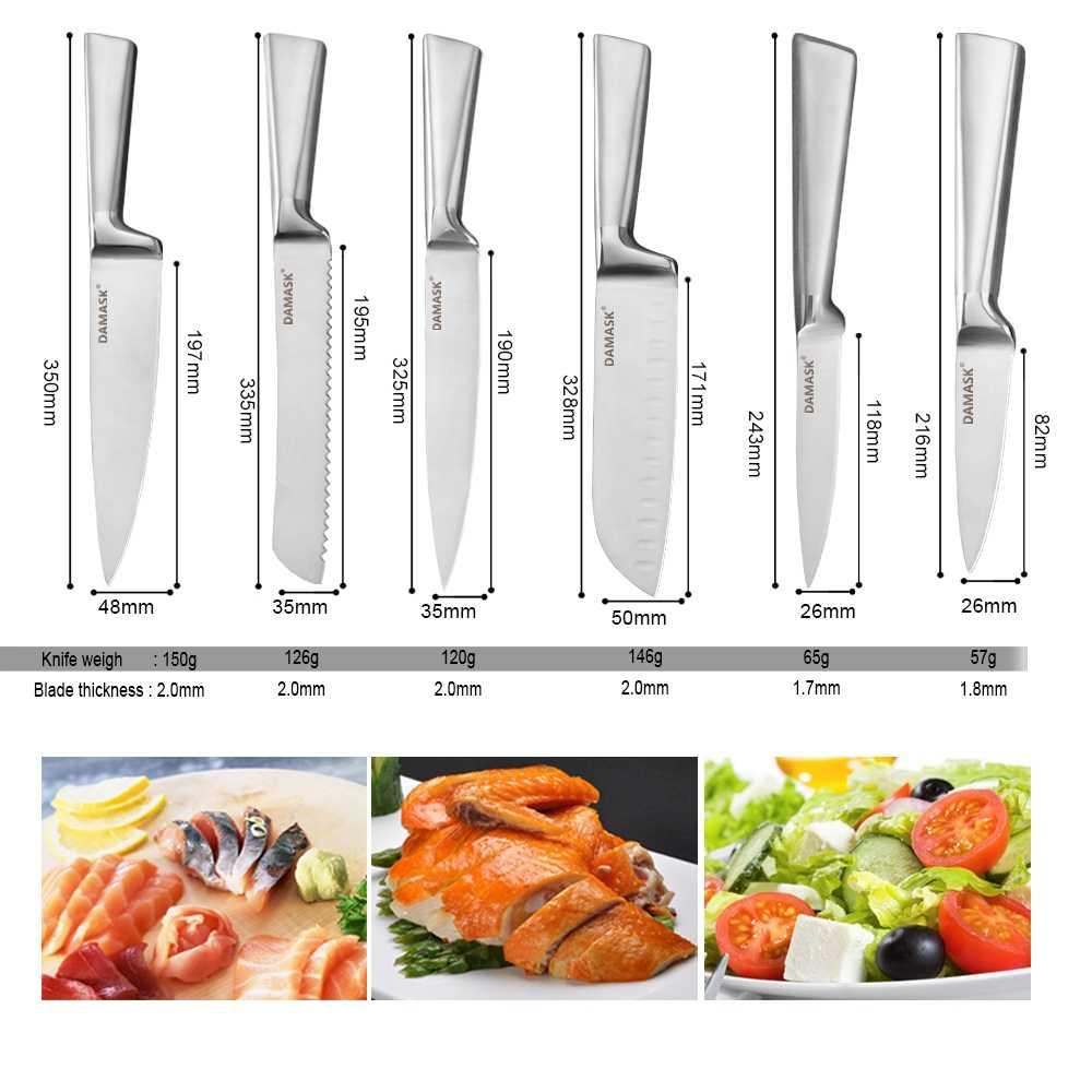 Şam Profesyonel Şef Mutfak Bıçak Seti 3Cr13 Paslanmaz çelik bıçak takımı Bıçak Tutucu Makas Kalemtıraş Japon Cleaver