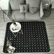 Nordic geometry Black and white line carpet grid Bedroom door mat living room Short crystal velvet non-slip customize