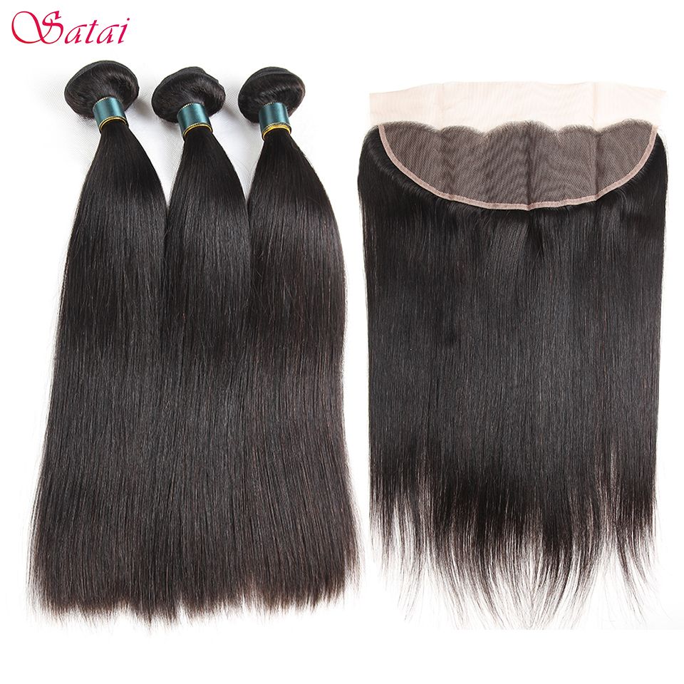 Satai Straight Hair Human Hair 3 Bundles With Frontal Natural Color Malaysian Hair Bundles With Closure Non Remy Hair Extension