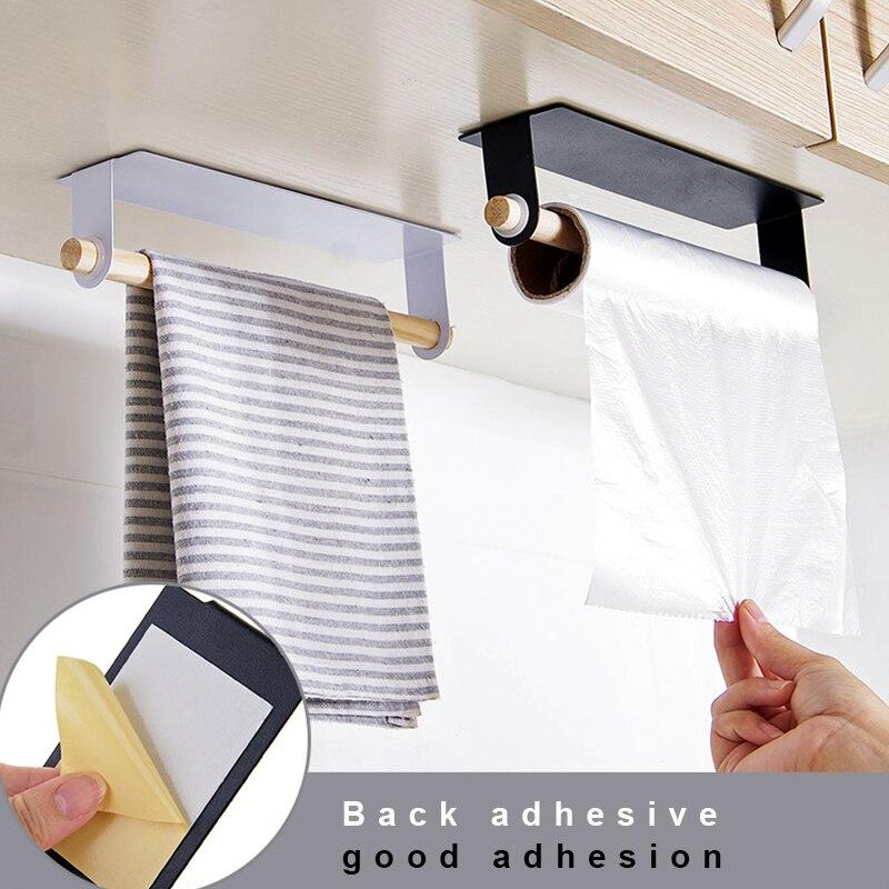 New Kitchen Towel holder bathroom wood and Iron storager Rack Cabinet Hanging Shelf Organizer Bathroom kitchen supplies
