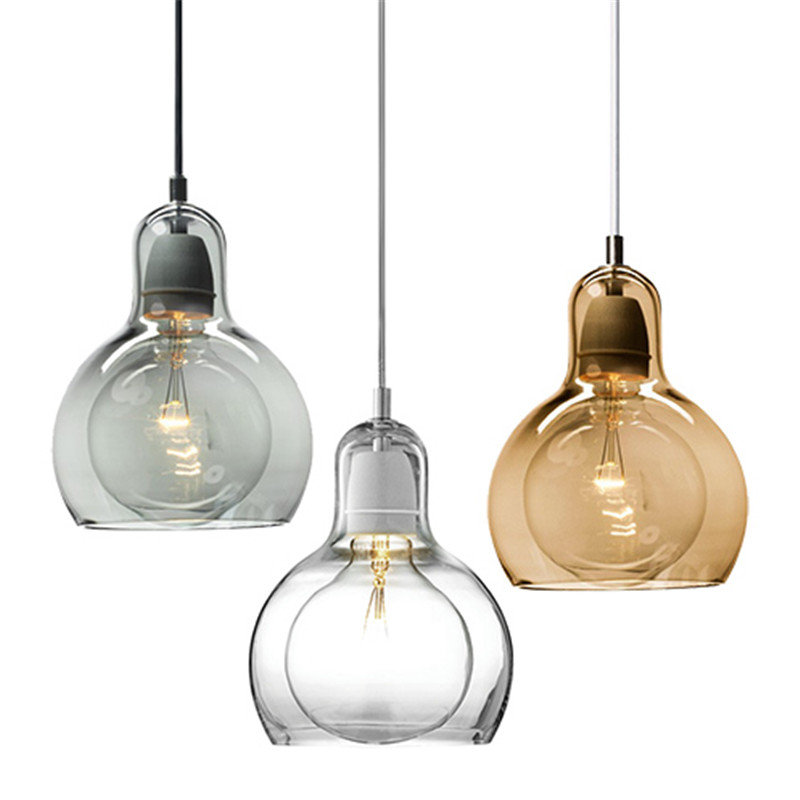 Modern Led Light Fixtures Amber/Transparent Clear Glass Pendant Lamps Design for Office Restaurant Kitchen Indoor Lighting PL-19