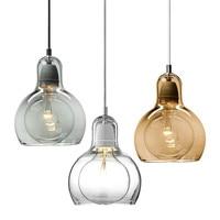 Moderne Led Verlichtingsarmaturen Amber/Transparant Glass Hanglampen Ontwerp voor Office Restaurant Keuken Binnenverlichting PL-19