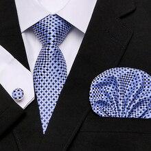 Men`s Tie blue Novelty 100% Silk Gravata Hanky Cufflink Set For Men Formal Wedding Party Groom Business