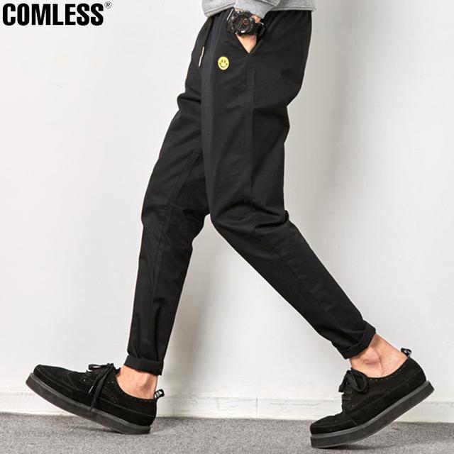 Sonrisa patchwork nuevo 2016 pantalones casuales hombres ropa de la marca del otoño del resorte largo khaki pantalones elásticos pantalones masculinos hombres aire libre pl