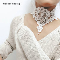 Romantic High Quality Lace Wedding Necklaces 2018 with Pearl Fashion Wide Handmade Ivory Chokers Women kolye Wedding Accessories
