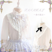 New Arrival Women Shirt White Three Quarter Sleeve Shirt Blusas Victorian Style Vintage Lolita Blouses For