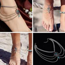 Boho Chic ethnic Turquoise Beads anklet Ankle Bracelet of Tassel Ankle Foot Body Jewelry for Women from freely