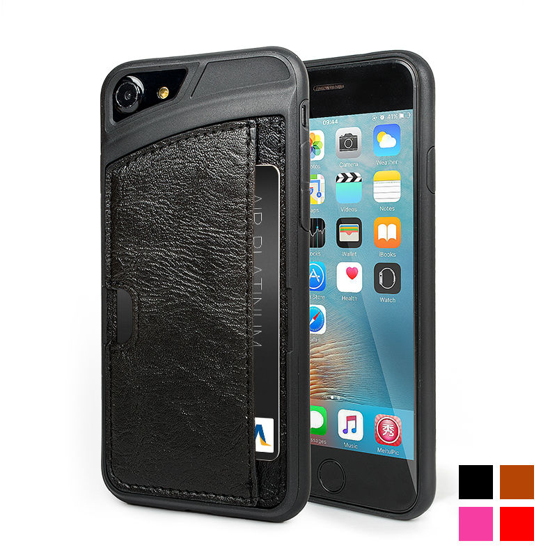Luxury PU Leather Card Slot Phone Case For Iphone 7 7PLUS Leather Hybrid Wallet Slot Stand Holder For 7 7PLUS Case Cover bage
