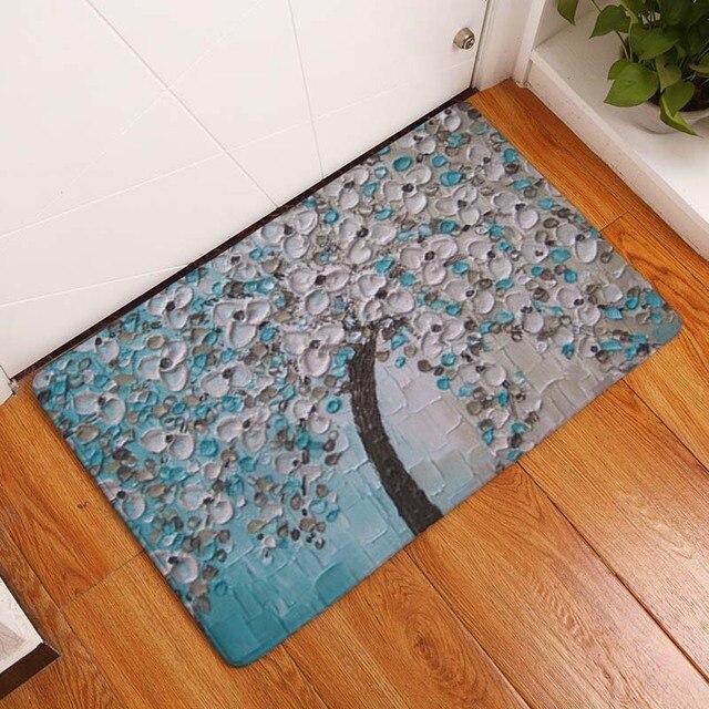 Painted Tree Door Foot Mats Non-Slip Bath Kitchen Carpet Capacho Para Porta De Entrada & Painted Tree Door Foot Mats Non Slip Bath Kitchen Carpet Capacho ...