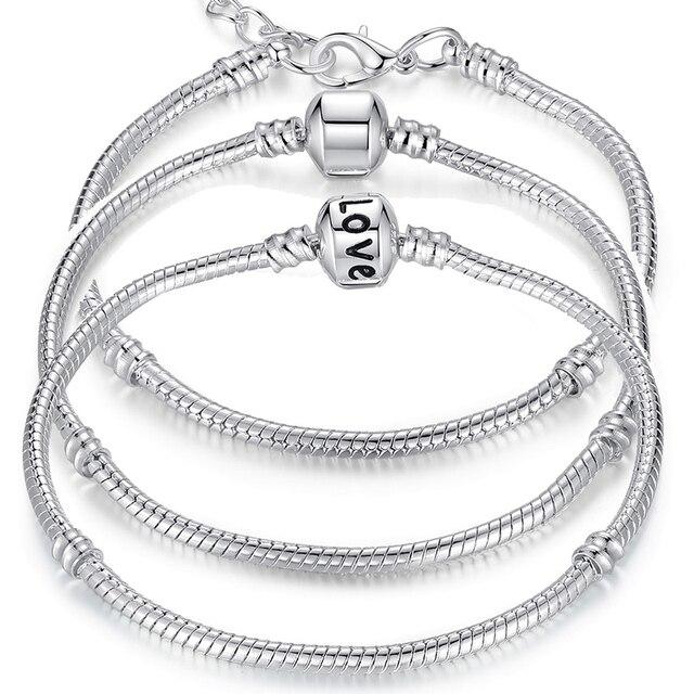 BAMOER 5 Style Silver Color LOVE Snake Chain Bracelet & Bangle 16CM-21CM Pulseras Lobster PA1104 1
