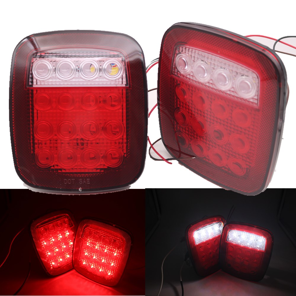 hight resolution of detail feedback questions about universal led tail lights car wrangler tj taillight rear stop turn reverse light for jeep trailer caravan van boat 16leds on