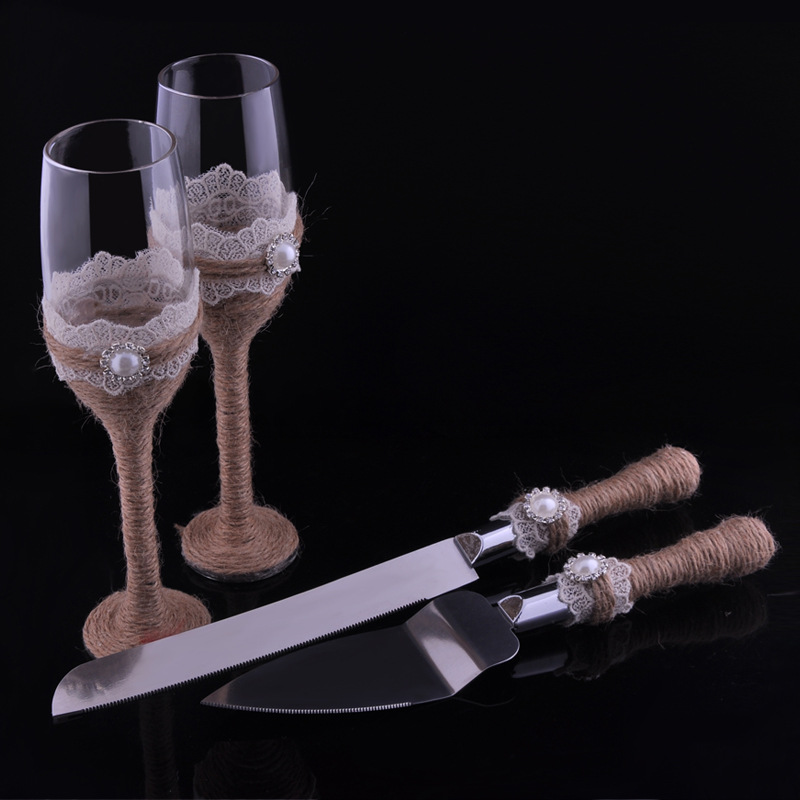 Personalized 4pcs Set Wedding Knife And Server Toasting Flutes Champagne Glasses Decoration Mariage Boda In Party Favors From Home