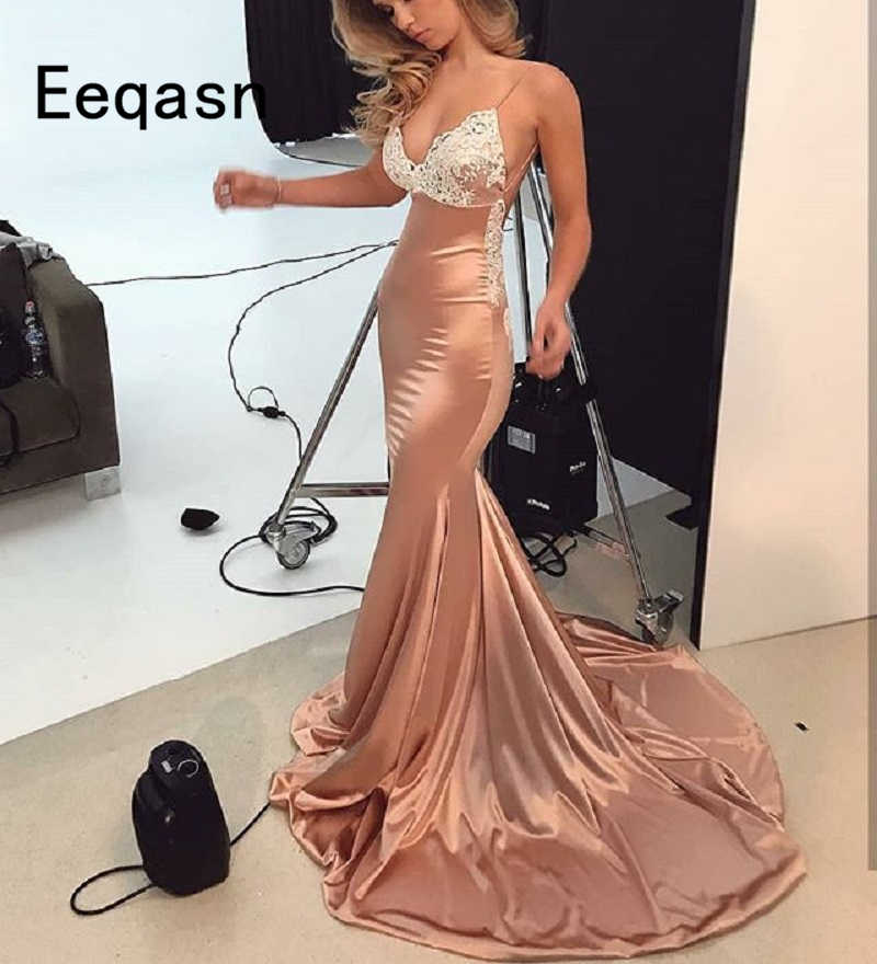 Sensuais Vestidos Longos de Baile 2019 Spandex Satin Mangas Sereia Open Back Sweep Trem Lace Applique Evening Formal Vestido de Festa