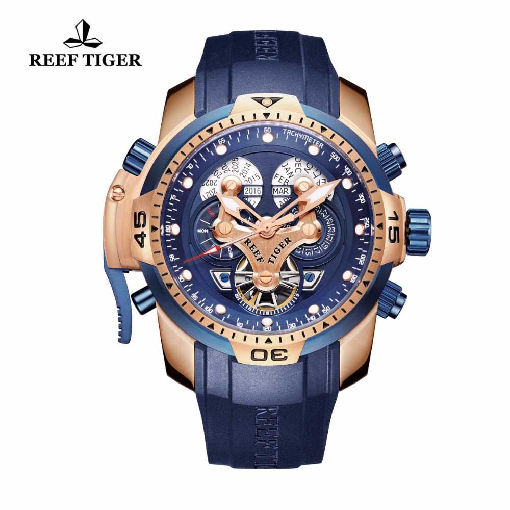 Reef Tiger/RT Mens Military Watch with Year Month Week Day Calendar Rose Gold Complicated Blue Dial Automatic Watches RGA3503 reef tiger rt mens elegant automatic watches with power reserve complete calendar rose gold watch rga1980