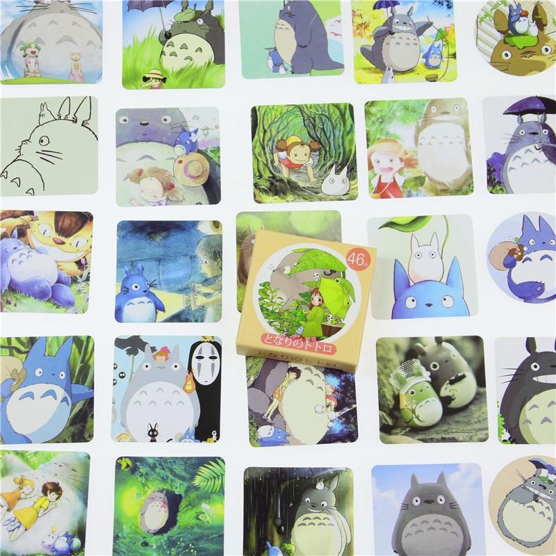 46 Pcs/pack Kawaii My Neighbor Totoro Diy Stickers Decorative Scrapbooking Diary Album Stick Label Decor Paper Party Memo Pads ae87 80pcs pack kawaii rabbit black cat sumikko gurashi pvc decorative sticker dairy album diy decor craft stick label
