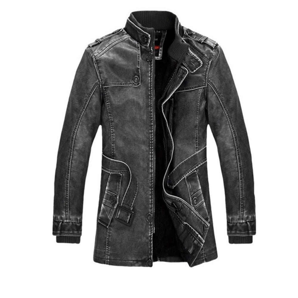 Mode de luxe hommes veste en cuir de haute qualité en cuir marron hommes veste en Faux cuir hommes veste et manteau jaqueta de couro 2018