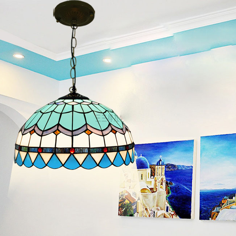 Tiffany Blue Ceiling Glass Lamps Mediterranean style 20/30/40/50/60cm with E27 110-240V LED Chain Pendant Lights Luminarias