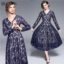 DUOUPA 2019 Spring Lace Dress Women Work Elegant Slim New Fashion V-neck Dress Vintage Sexy Hollow Out A-line Dresses Vestidos new fashion pregnancy wear spring clothes hollow out of bud silk dress sweet maternity dress v neck lace dresses