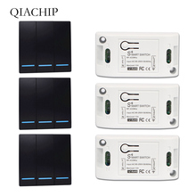 цена на QIACHIP 433Mhz Wireless Remote Control Switch AC 110V 220V 1CH Relay Receiver + Wall Panel Transmitter 433 MHz RF Remote Control
