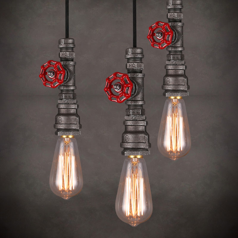 Loft Style Edison Vintage Pendant Lamp Industrial Light Fixtures Water Pipe Lamp Industrial Lighting loft vintage edison glass light ceiling lamp cafe dining bar club aisle t300
