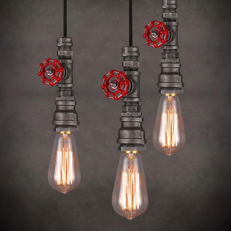 Loft Style Edison Vintage Pendant Lamp Industrial Light Fixtures Water Pipe Lamp Industrial Lighting iwhd loft style creative retro wheels droplight edison industrial vintage pendant light fixtures iron led hanging lamp lighting