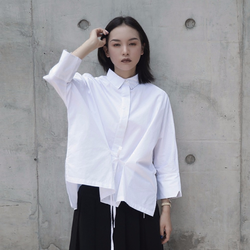 White Blouse Women Novelty Design 100 Cotton Loose Top Solid Nine Quarter Sleeves Waist Lace up
