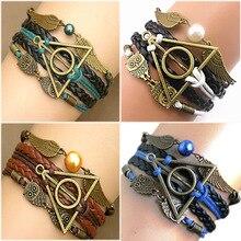 Harry potter Multilayer Braided Bracelets Vintage Owl Deathly Hallows wings Infinity Bracelet Bangle Gryffindor Slytherin(China (Mainland))