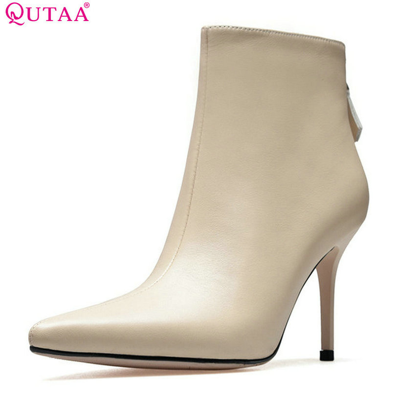 QUTAA 2018 Women Ankle Boots Cow Leather + Pu Thin High Heel Pointed Toe Women Fashion Zipper Women Ankle Boots Size 33-39 2018 fashion cow leather zipper superstar winter boots women round toe low heel solid concise pregnant chelsea ankle boots l08