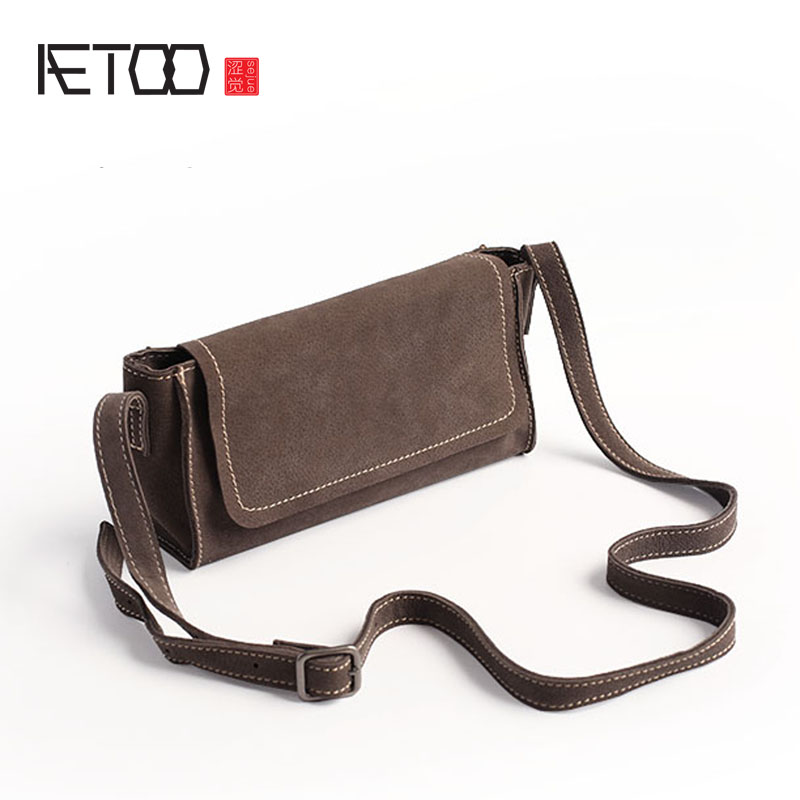 AETOO Original new light long section of the female package cowhide diagonal package hand retro leather hand bag in the autumn of 2017 new female hand