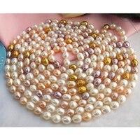 Идеальный 100 ''длинное жемчужное Jewellery.8 10 мм белый рис из розового золота пресноводный жемчуг Цепочки и ожерелья ручной работы, натуральная к