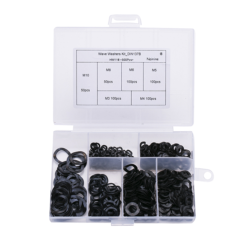 250/500Pcs M3 M4 M5 M6 M8 M10 Mix DIN137B Black Steel 65MN Wave Washers  Spring Washer Assortment Kit HW118