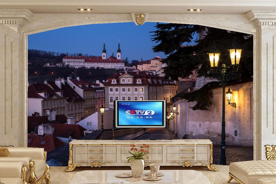 Large 3d Murals WallpaperPrague Houses Street Night Lights Cities Wallpapersliving Room Sofa