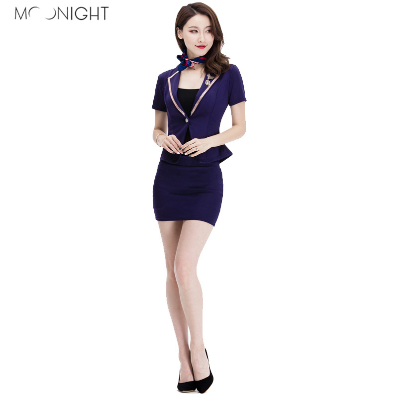 MOONIGHT 2 Colors Sexy Cosplay Uniform Erotic Airline Stewardess Costume Halloween Top with Slim-cut Skirt Role Play Costume