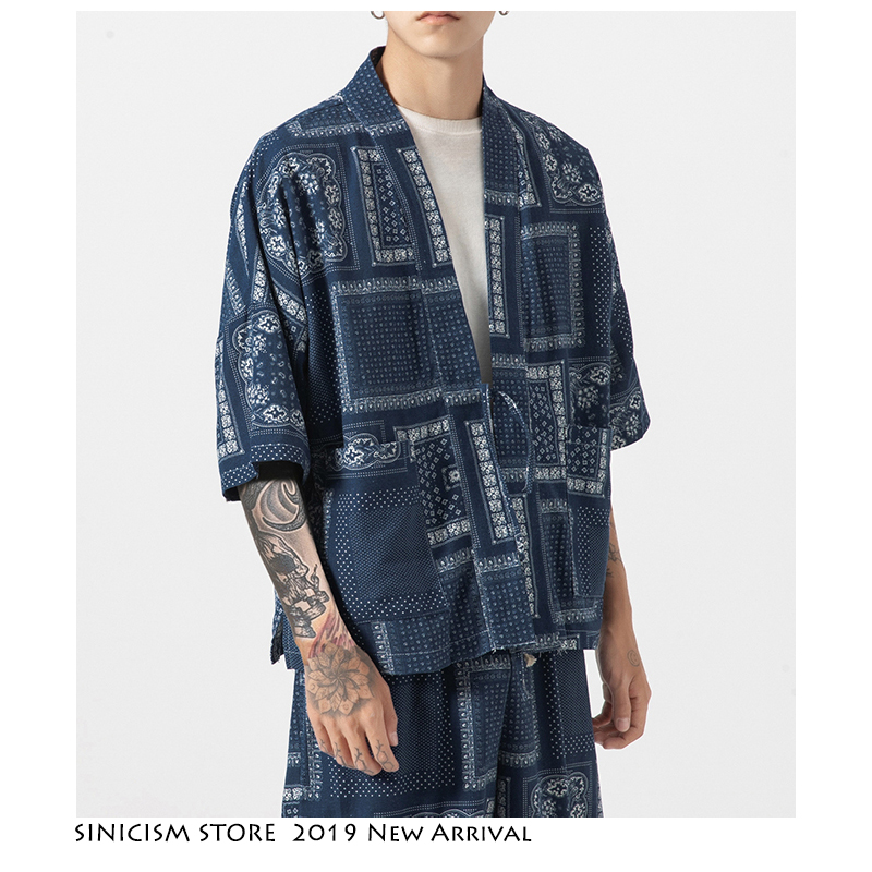 Sinicism Store Tracksuit Men Men 2019 Men Crane Harajuku Tracksuite Kimono Jacket 2 Piece Set Summer Clothes For Men Short Sets