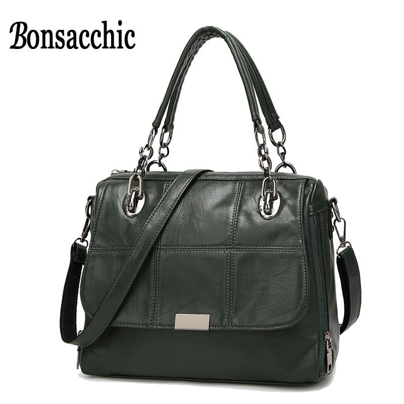 Bonsacchic Green Bags Handbags Women Famous Brand Green Leather Handbag Designer Shoulder Bag for Women Tote Bag bolsas feminina