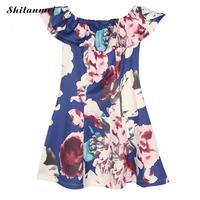 2016 Brand New Ladies Summer Flower Printed Off Shoulder One Piece Dress Women Printed Casual Beach
