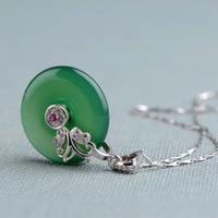 Yu Xin Yuan Natural green jade medullary Pendants&Necklace with free 925 silver chain for brave amulet women men jewelry
