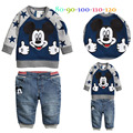 Baby boys autumn cartoon suits mickey sweatshirt +trousers kids casual hoodies set children clothing sets