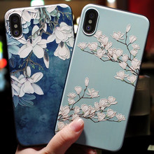 Funda de teléfono linda de dibujos animados de flores 3D para iphone 7 6X8 6S Plus funda suave para iphone 5 5s iPhone 6 s XR XS Max 7plus caso Coque(China)
