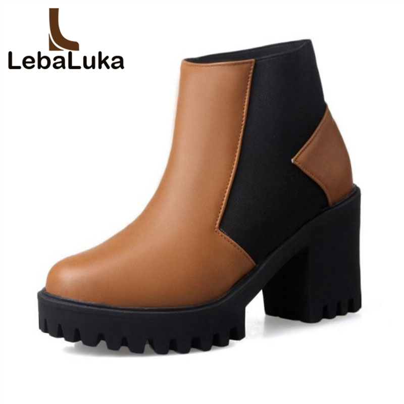 LebaLuka Women Ankle Boots Winter Mixed Color Fur Warm Shoes For Women Square High Heel Boots Casual Platform Shoes Size 34-43LebaLuka Women Ankle Boots Winter Mixed Color Fur Warm Shoes For Women Square High Heel Boots Casual Platform Shoes Size 34-43
