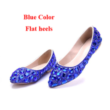 Gorgeous Design Royal Blue Rhinestone Wedding Bridal Dress Shoes Customized  Flat Heel Party Dancing Shoes Theatre b5bc3c32437a