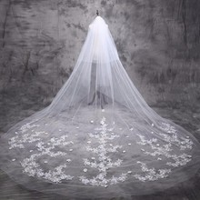 Bridal Veils 5 m Cathedral Veil Long Bride Lace Wedding Bridal Veil 5 Meters 2017 Bridal Veils With Appliques Edge(China)