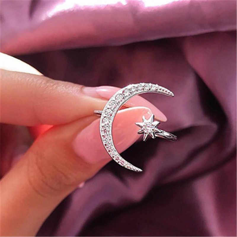 2019 Female Fashion Rings For Women Girls Moon&Star Dazzling Open Finger Rhinestone Ring Crytal Ring Wedding Engagement Jewelry